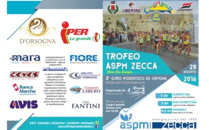 """Ortona, domenica 28 agosto terzo giro podistico """"Trofeo ASPM Zecca"""""""