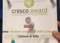 Tollo riceve il premio Cresco Award per la sostenibilità del territorio
