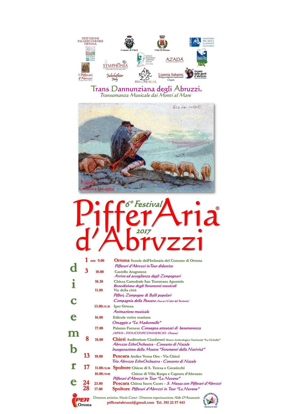 Ad Ortona la sesta edizione del Festival PifferAia d'Abruzzi 2017