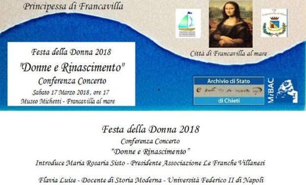 """Oggi al Michetti la conferenza concerto """"Donne e rinascimento"""""""