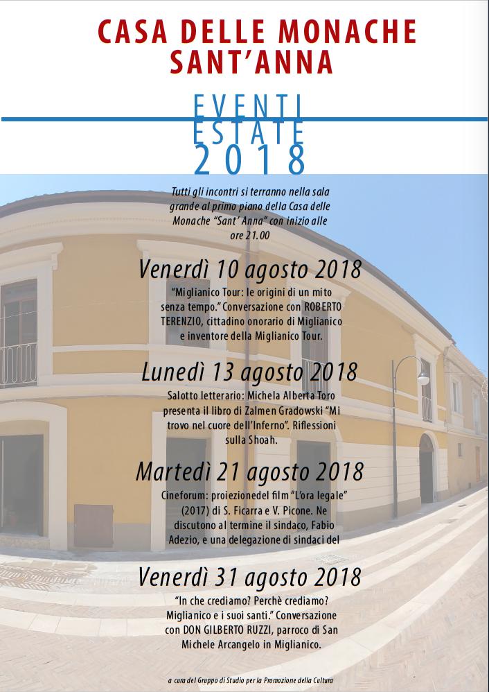 """Miglianico: ciclo di incontri culturali presso la nuova """"Casa delle Monache di Sant'Anna"""""""