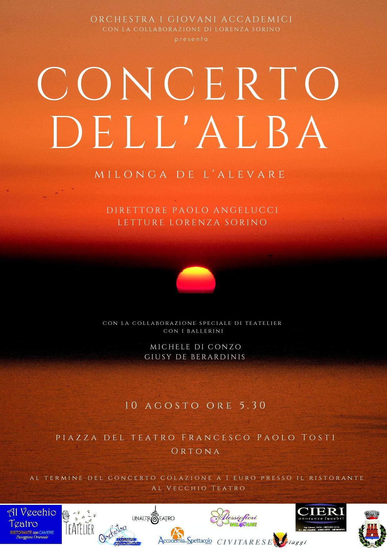 """Ortona: il 10 agosto torna il """"Concerto dell'Alba"""""""