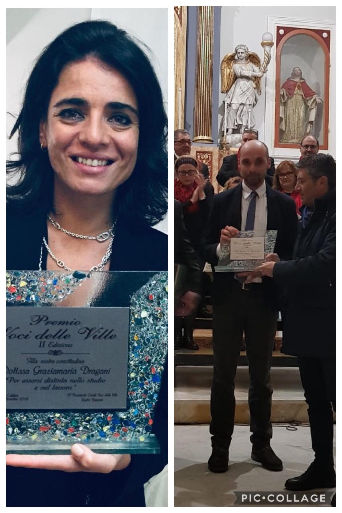 I giornalisti Grazia Maria Dragani e Antonio Di Bartolomeo premiati ieri a Caldari