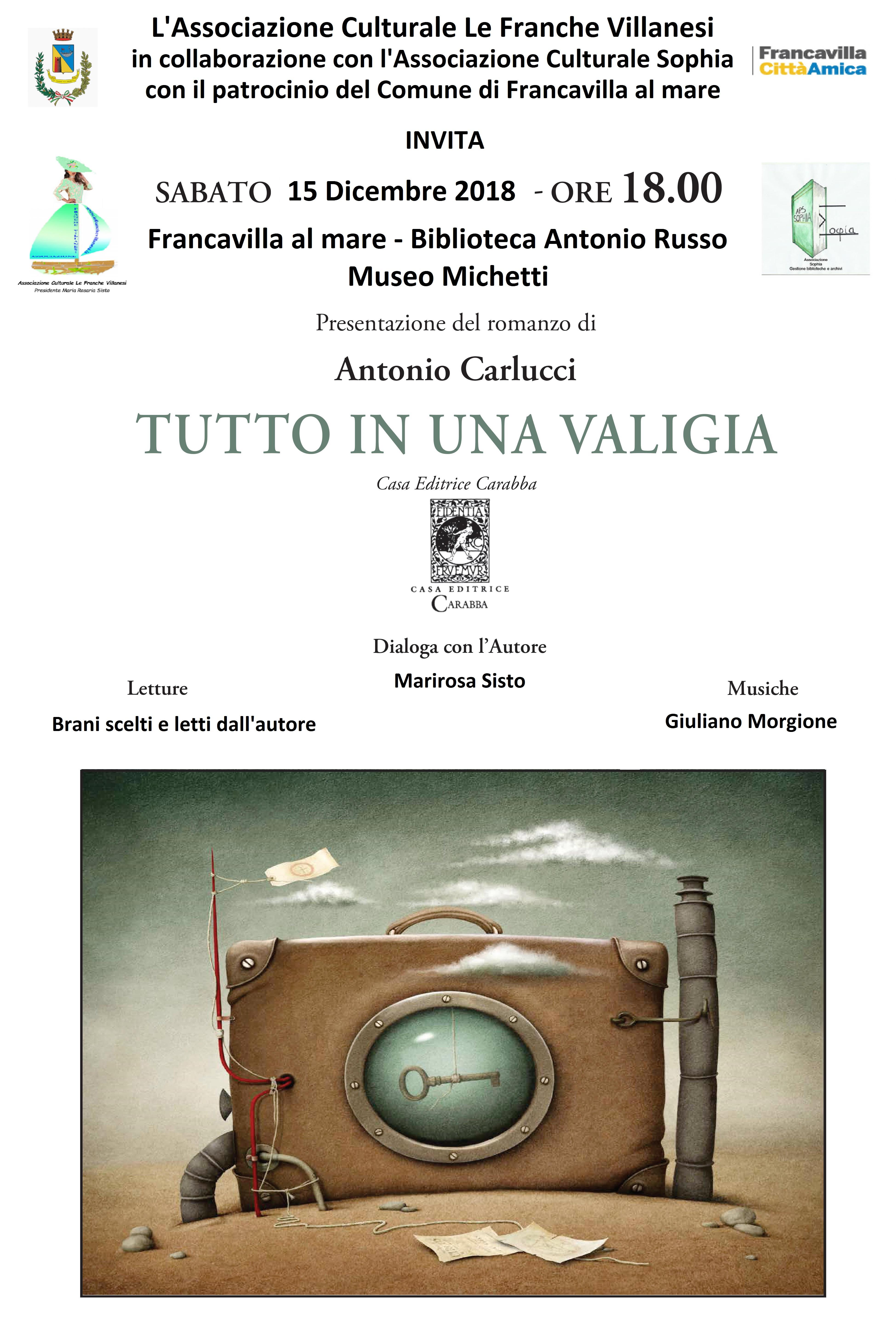 Sabato 15 dicembre presentazione del libro di Antonio Carlucci
