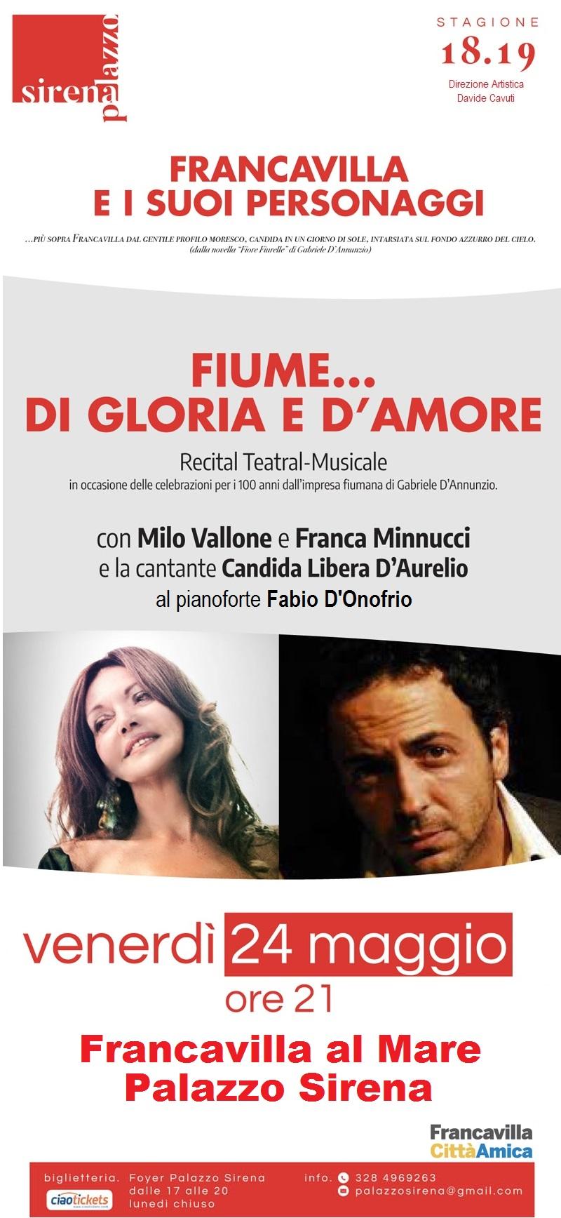 """""""Fiume di gloria e d'amore"""" stasera alla Sirena"""