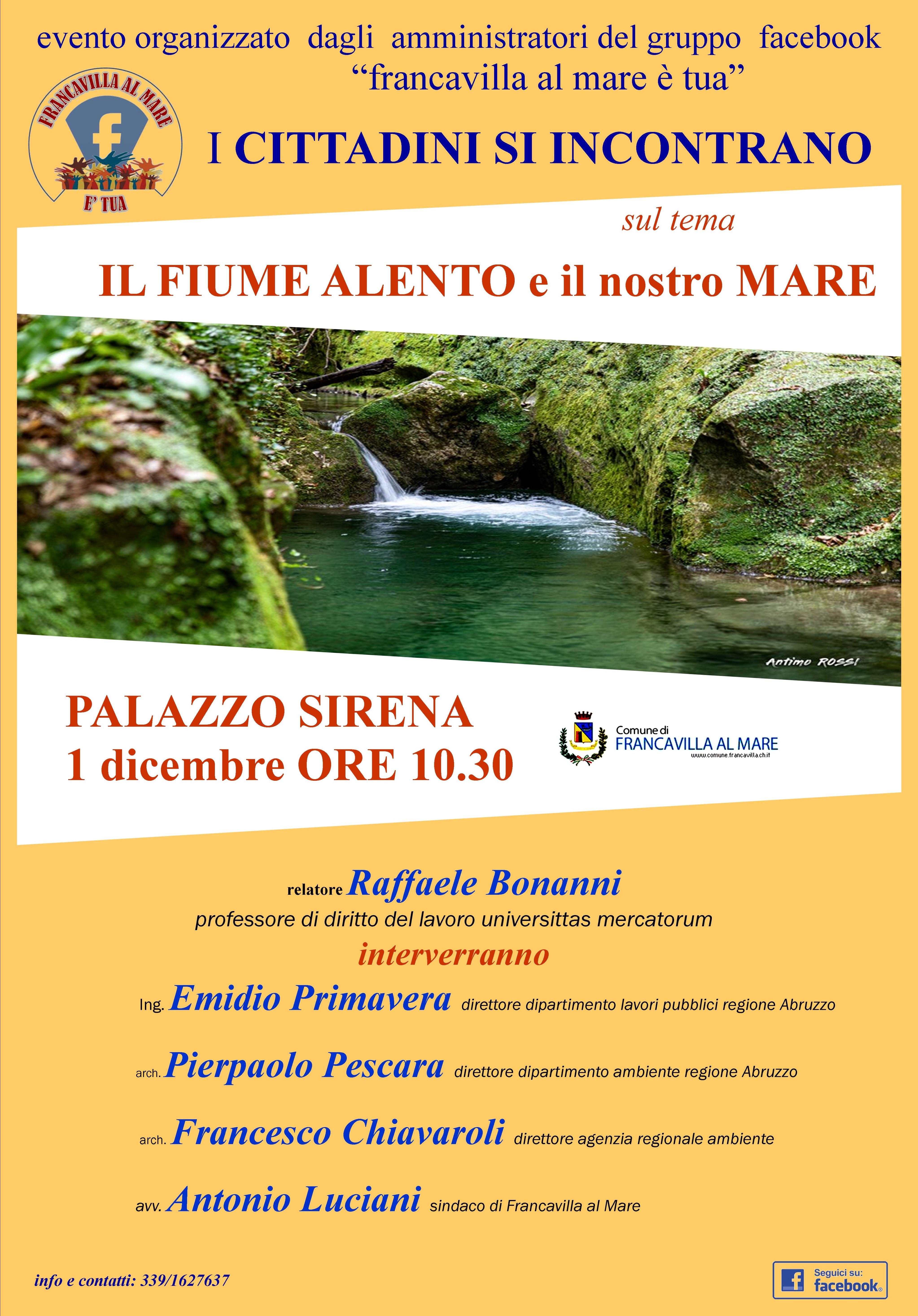 """""""Il fiume Alento e il nostro mare"""". Il primo dicembre alla Sirena"""
