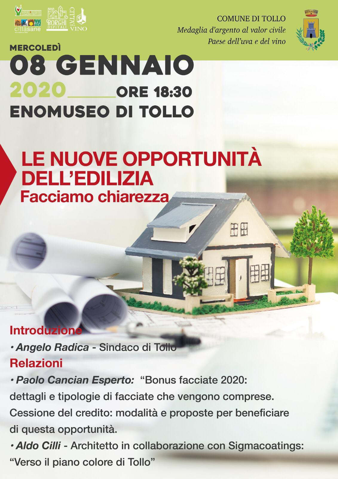 Novità nell'edilizia: all'Enomuseo incontro previsto per l'8 gennaio