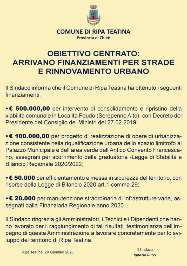 Ripa Teatina: arrivano finanziamenti per strade e rinnovamento urbano
