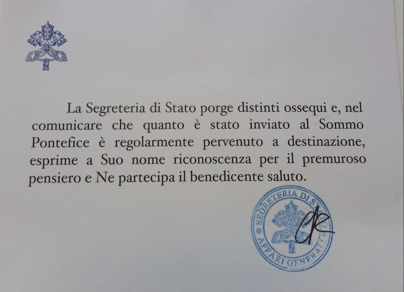 Anche il Papa beve il vino Sincarpa di Torrevecchia