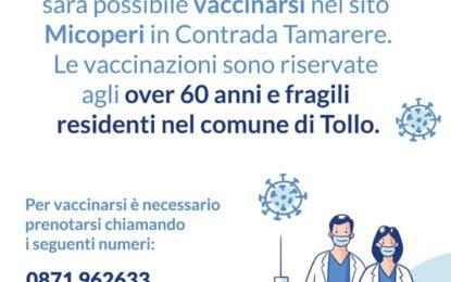Tollo, over 60: vaccini alla Micoperi dal 9 giugno